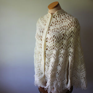 Vintage White Loose Crochet Shawl